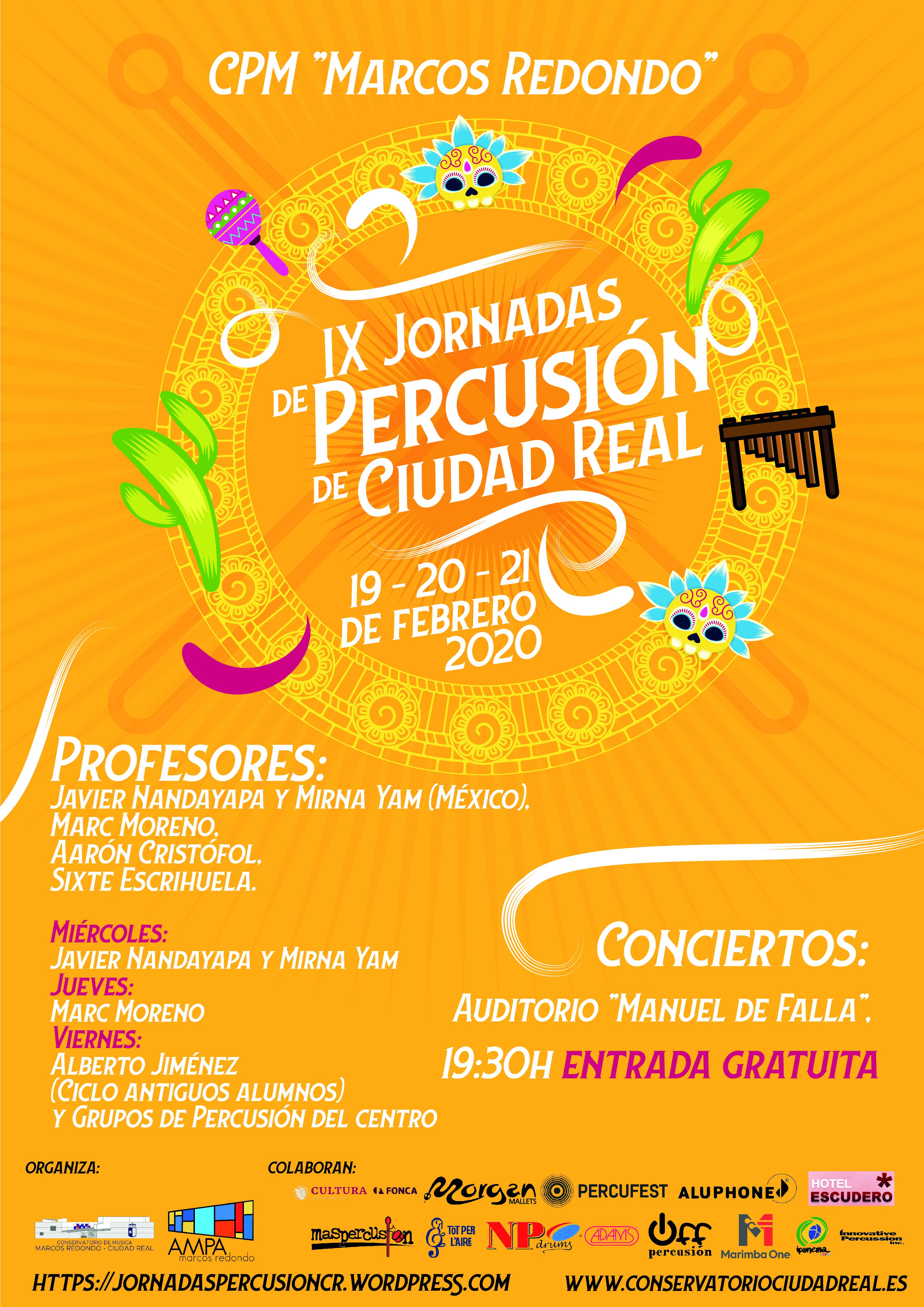 Cartel IX Jornadas Percusion CR 2020